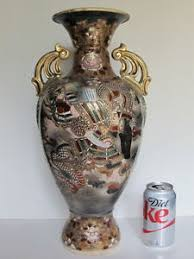Japanese Dragon Vase Large Antique Asian Japanese Satsuma Vase Samurai Warrior Fighting