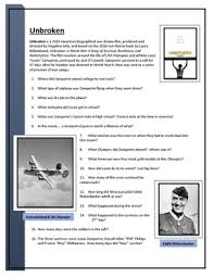 unbroken movie worksheet worksheets high english and