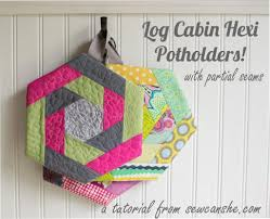 free patterns quilted potholders log cabin hexi potholder by sewcanshe sewing pattern looking for