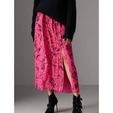 silk skirt doodle print pintuck detail silk skirt in fluro pink women