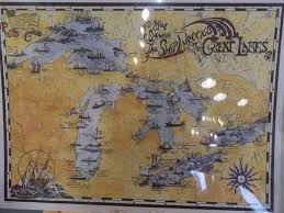 Map Of Great Lakes Map Showing The Ship Wrecks Of The Great Lakes Poster Michigan Fair