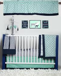 Unisex Crib Bedding Sets Bacati Noah Tribal Mint Navy 10 Pc Crib Set With 2 Crib Fitted