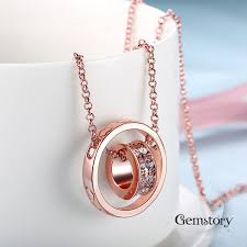 rose necklace gold images Charm rose gold necklace jewellery by gemstory jpg