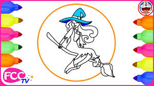 witch costume halloween coloring pages kids draw