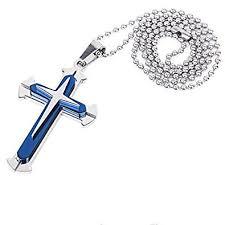 steel cross necklace images Global wumart new gift unisex 39 s men blue silver jpg