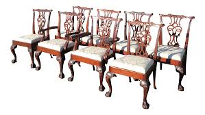 Chippendale Dining Room Table Baker Chippendale Style Dining Chairs Set Of 8 Chairish
