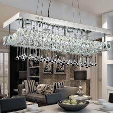 Crystal Light Fixtures Dining Room - online shop modern design suspension lamp rectangle rain drop