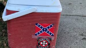 Confederate Flag Rear Window Decal Worker Fired For Bringing Cooler With Kkk Confederate Flag
