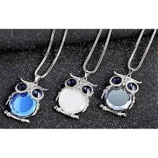 owl pendant necklace silver images Crystal owl pendant necklace shopeholic jpg