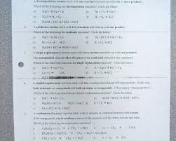 chemical equations and reactions worksheet worksheets