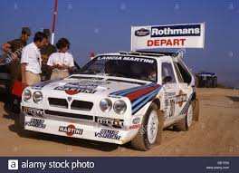 martini livery lancia lancia delta s4 rally car markku alen and ilkka kivimaki stock