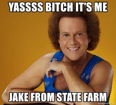 Yassss Meme - yassss bitch it s me jake from state farm gay richard simmons