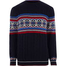 christmas jumper navy fairisle cable knit christmas jumper jumpers cardigans