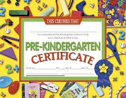 kindergarten certificates certificates pre kindergarten 30 prek 8 5 x 11 yellow h va600