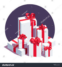 ribbon and bows big pile wrapped white gift boxes stock vector 534736693