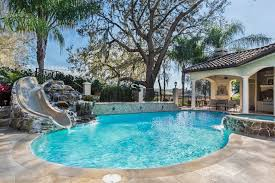 Backyard Pool With Slide How Much Does A Swimming Pool Cost