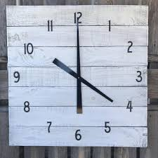 large wood wall large farmhouse clock rustic white square wall clock primitive