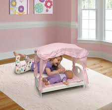 badger basket canopy doll bed with pink gingham bedding for 20