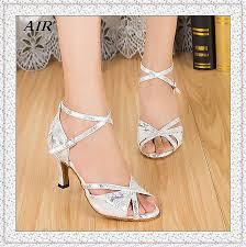 Comfort Ballroom Dance Shoes Wholesale Indoor Silver White Salsa Dancing Shoes Women Latin