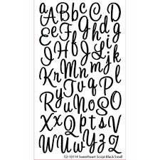 sticko glitter sweetheart script alphabet stickers