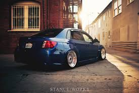 stanced subaru jaycee u0027s subaru wrx on slant lip bbs rs wheels