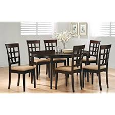 coaster dining room table amazon com 7 piece dining set in rich cappuccino coaster table