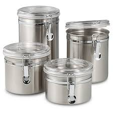 oggi kitchen canisters oggi airtight stainless steel canisters with acrylic tops set of