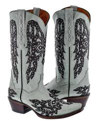 womens white studded cross wings design leather cowboy cowgirl