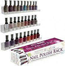 display acrylic nail polish rack 3 shelf set wall mount holds 45