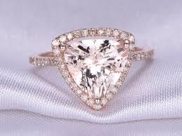 10mm diamond 10mm trillion cut big morganite engagement ring diamond wedding