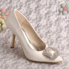 wedding shoes brands brand name pointed toe stilettos ivory satin bridal shoes wedding