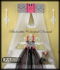 Crown Bed Canopy Crown Bed Canopy Damask Black White Hot Pink Padded Embroider