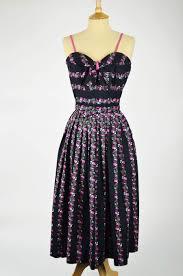 1940s dresses 1940s 50s vintage dress black pink floral stripes with stole 26