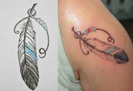 feather with beads tattoo design photo 1 2017 real photo