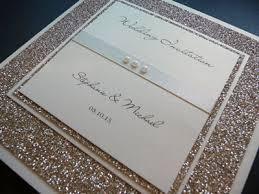 wedding invitations glitter large folded wedding invitation with a mounted glitter