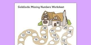 missing numbers worksheet goldilocks worksheet