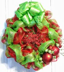 tangled wreaths christmas deco mesh lime green red with green