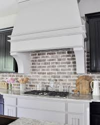 Kitchen Brick Backsplash Gorgeous Vent Hood And Brick Backsplash In Bright Kitchen Decor