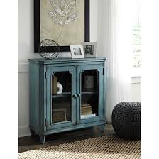 french provincial style glass door accent cabinet in antique teal