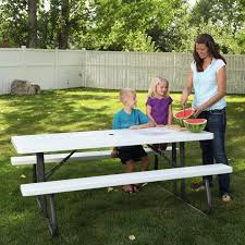 dura trel traditional white picnic table hayneedle