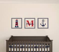 Nursery Name Wall Decals by Custom Name Nautical Lighthouse U0026 Anchor Squares Premium Series