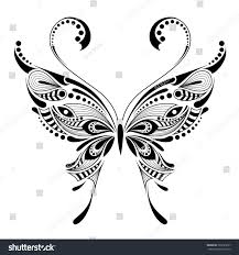 patterned butterfly african indian totem tattoo stock vector