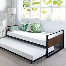daybed images amazon com zinus ironline twin daybed and trundle frame set