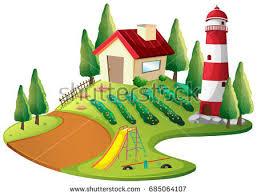 farmer house vegetable garden lighthouse illustration stock vector