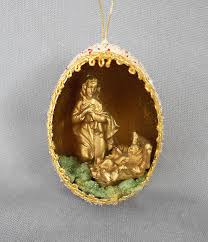 1950s vintage genuine goose egg diorama ornament