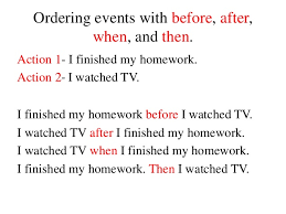 ordering of events with before after when and then