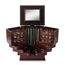 amazon com deluxe wooden jewelry organizer box storage cabinet