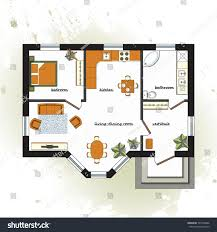 One Bedroom Apartment Floor Plans by Architectural Color Floor Plan Furniture Top Stock Vector