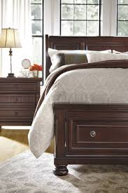 Ashley Porter Nightstand Bedroom B697 In Burnished Brown W Storage Bed By Ashley