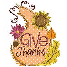 thanks gourd thanksgiving applique machine embroidery digitized